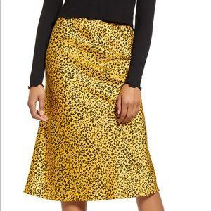 La La Land Creative Co Satin Midi Skirt Mustard
